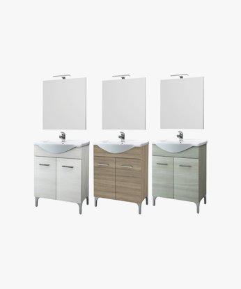 Consolle In Ceramica Per Bagno.Mobile Per Bagno Con 2 Ante Specchio E Lavabo Consolle In Ceramica