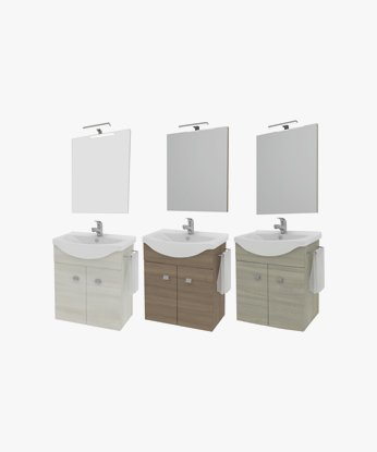 Lavello Bagno Con Mobile.Mobile Per Bagno Sospeso Con 2 Ante Specchio E Lavabo Consolle In Ceramica